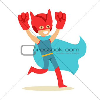 Boy Pretending To Have Super Powers Dressed In Superhero Costume With Blue Cape And Giant Fists Smiling Character