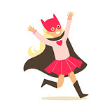 Girl Pretending To Have Super Powers Dressed In Pink Superhero Costume With Black Cape And Cat Mask Smiling Character