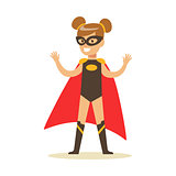 Girl Pretending To Have Super Powers Dressed In Black Superhero Costume With Red Cape And Mask Smiling Character