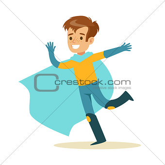Boy Pretending To Have Super Powers Dressed In Superhero Costume With Blue Cape Running Smiling Character
