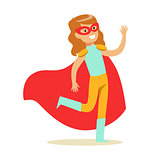 Girl Pretending To Have Super Powers Dressed In Blue And Yellow Superhero Costume With Red Cape And Mask Smiling Character