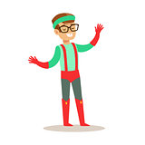 Pretending To Have Super Powers Dressed In Green And Red Superhero Costume With Suspenders And Glasses Smiling Character