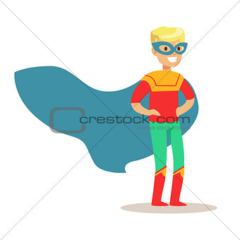 Blond Boy Pretending To Have Super Powers Dressed In Superhero Costume With Blue Cape And Mask Smiling Character