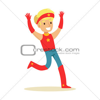 Boy Pretending To Have Super Powers Dressed In Red Superhero Costume With Headband With Star Smiling Character