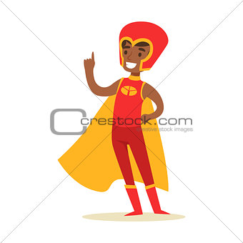 Boy Pretending To Have Super Powers Dressed In Red Superhero Costume With Yellow Cape And Helmet Smiling Character