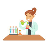Girl Chemist Experimenting, Kid Doing Chemistry Science Research Dreaming Of Becoming Professional Scientist In The Future