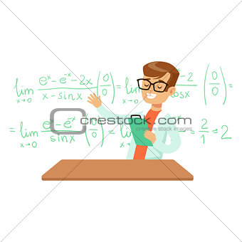 Boy Explaining Mathematic Formula, Kid Doing Math Science Research Dreaming Of Becoming Professional Scientist In The Future