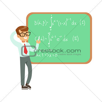 Boy Mathematician Writing Formulas On Blackboard, Kid Doing Science Research Dreaming Of Becoming Professional Scientist In The Future