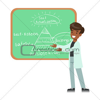 Boy Psychologist Draing Hierarchy Of Needs On Blackboard, Kid Doing Science Research Dreaming Of Becoming Professional Scientist In The Future
