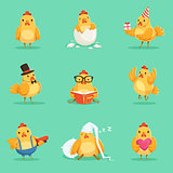 Little Yellow Chicken Chick Different Emotions And Situations Set Of Cute Emoji Illustrations