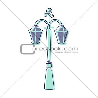 Classy Outdoor Lighting Lantern Lamp, Cute Fairy Tale City Landscape Element Outlined Cartoon Illustration