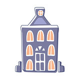 Blue Classy Building, Cute Fairy Tale City Landscape Element Outlined Cartoon Illustration