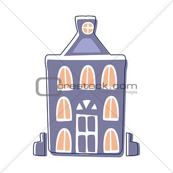 Blue Classy Building, Cute Fairy Tale City Landscape Element Outlined Cartoon Illustration