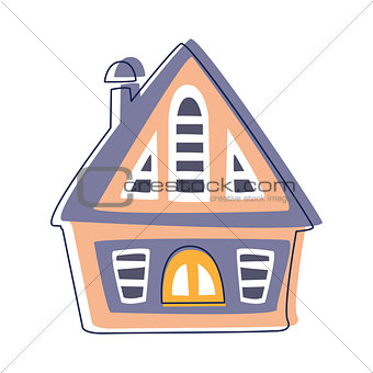 Small Wooden Hut In Blue And Pink Color, Cute Fairy Tale City Landscape Element Outlined Cartoon Illustration