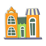 Three Small Houses Close To Each Other In Green And Orange Color, Cute Fairy Tale City Landscape Element Outlined Cartoon Illustration