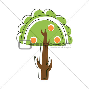 Apple Tree With Apples Garden Nature, Cute Fairy Tale City Landscape Element Outlined Cartoon Illustration