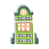 Tall Green Building With Big Windows, Cute Fairy Tale City Landscape Element Outlined Cartoon Illustration