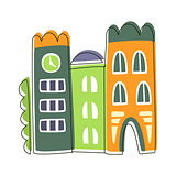 Narrow Houses Stuck To Each Other, Cute Fairy Tale City Landscape Element Outlined Cartoon Illustration