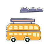 Double Decked Public Transport Yellow Bus, Cute Fairy Tale City Landscape Element Outlined Cartoon Illustration