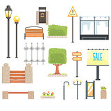 Cityscape Constructor Elements Set In Cute Cartoon Geometric Design, Town Landscape Design Templates.