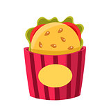 Sandwich In Paper Holder, Cinema And Movie Theatre Related Object Cartoon Colorful Vector Illustration