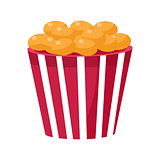 Crispy Fried Snack In Stripy Bucket, Cinema And Movie Theatre Related Object Cartoon Colorful Vector Illustration
