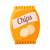 Bag Of Potato Chips Snack, Cinema And Movie Theatre Related Object Cartoon Colorful Vector Illustration
