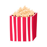 Stripy Paper Bucket With Popcorn Snack, Cinema And Movie Theatre Related Object Cartoon Colorful Vector Illustration
