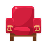 Red Armchair With Cup Holders, Cinema And Movie Theatre Related Object Cartoon Colorful Vector Illustration