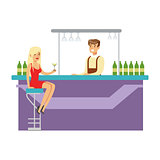 Cute Girl In Red Dress Drinking Alone At The Bar With Barman, Part Of People At The Night Club Series Of Vector Illustrations
