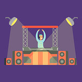 Disk Jockey Playing His Music Set On Stage, Part Of People At The Night Club Series Of Vector Illustrations