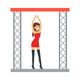 Go-go Dancer Entertainment Girl In Sexy Red Dress Dancing On Stage, Part Of People At The Night Club Series Of Vector Illustrations
