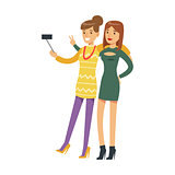Two Girlfriends On High Heels Taking Selfie With A Stick, Part Of People At The Night Club Series Of Vector Illustrations