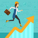 Woman running on growth graph.
