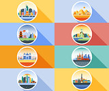 Vector icon circle flat style architecture buildings town city country travel Moscow Russian capital France, Paris, Japan, India, Egypt, pyramids, China, Brazil, USA