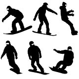 Set black silhouettes snowboarders on white background. Vector illustration