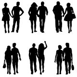Set Couples man and woman silhouettes on a white background. Vector illustration