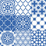 Moroccan tiles design, seamless navy blue pattern collections