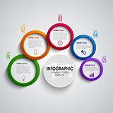 Info graphic with abstract colored round indicators template