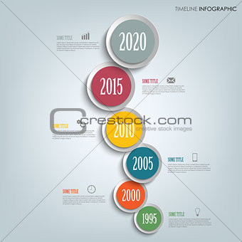 Time line info graphic vertically with round design indicators template