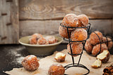 Fresh delicious homemade ball doughnuts
