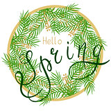 Spring illustration with handwritten text, leaves and branches.
