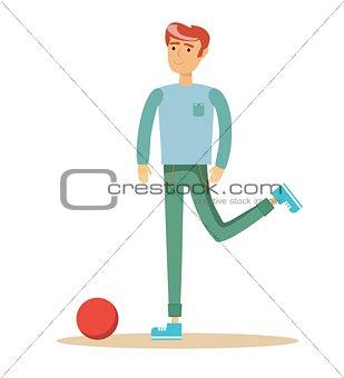 casual man a footballer beating on a ball