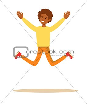 one African American man jumping