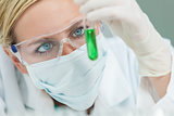 Female Woman Research Scientist With Test Tube In Laboratory