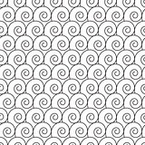 Abstract hand drawn outline spiral curl seamless pattern.