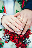 Bridal hands with rings with shallow depth of field