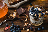 Granola with yogurt and blueberries
