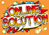 Online Solution - Comic book style word.