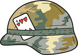 US Army Helmet 4 of Hearts Playing Card Drawing